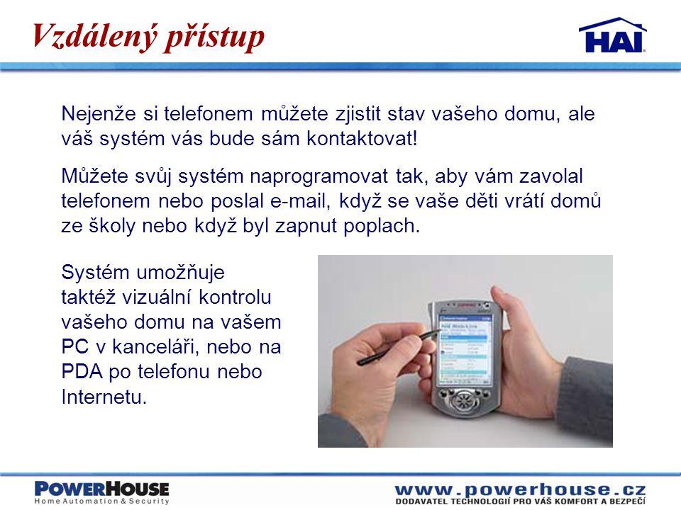 Vzdálený přístup Nejenže si telefonem můžete zjistit stav vašeho domu, ale váš systém vás bude sám kontaktovat! Můžete svůj systém naprogramovat tak,