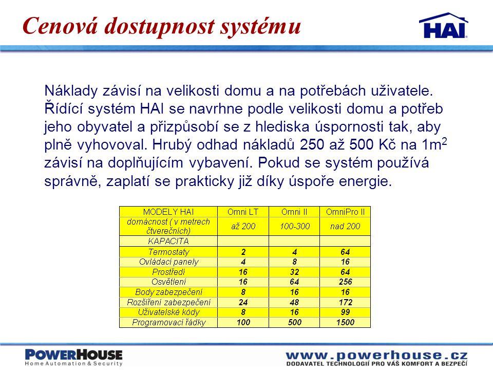 Cenová dostupnost systému Náklady závisí na velikosti domu a na potřebách uživatele. Řídící systém HAI se navrhne podle velikosti domu a potřeb jeho o