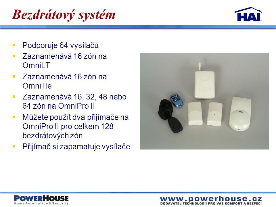 Bezdrátový systém  Podporuje 64 vysílačů  Zaznamenává 16 zón na OmniLT  Zaznamenává 16 zón na Omni IIe  Zaznamenává 16, 32, 48 nebo 64 zón na Omni