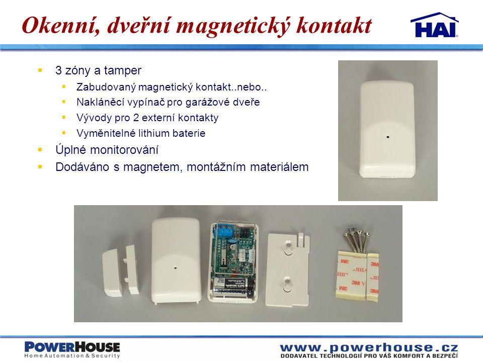 Okenní, dveřní magnetický kontakt  3 zóny a tamper  Zabudovaný magnetický kontakt..nebo..  Nakláněcí vypínač pro garážové dveře  Vývody pro 2 exte