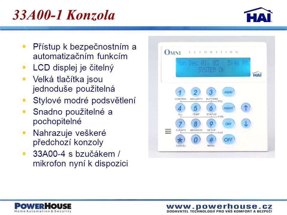 33A00-1 Konzola  Přístup k bezpečnostním a automatizačním funkcím  LCD displej je čitelný  Velká tlačítka jsou jednoduše použitelná  Stylové modré