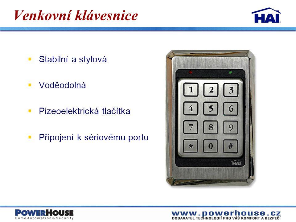 Venkovní klávesnice  Stabilní a stylová  Voděodolná  Pizeoelektrická tlačítka  Připojení k sériovému portu