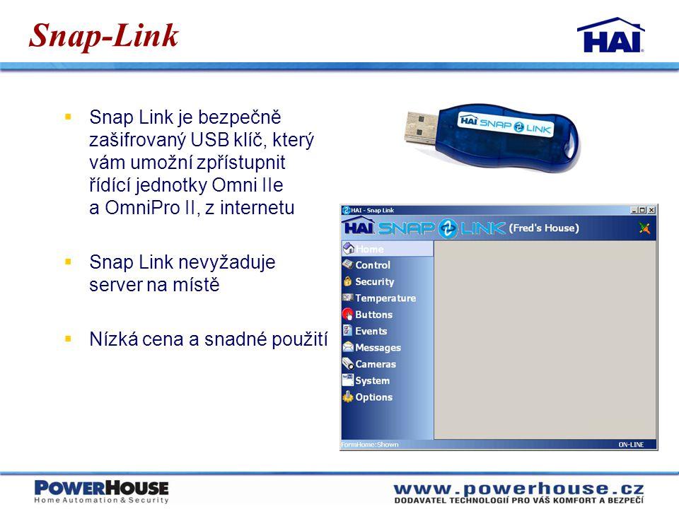 Snap-Link  Snap Link je bezpečně zašifrovaný USB klíč, který vám umožní zpřístupnit řídící jednotky Omni IIe a OmniPro II, z internetu  Snap Link ne