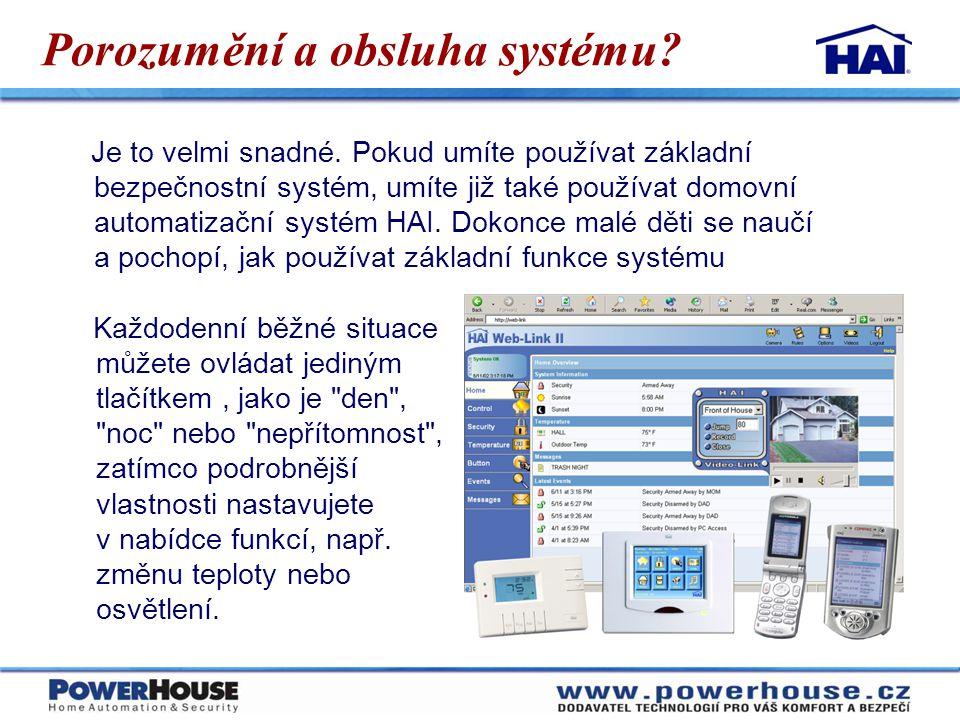 Proč si pořizovat Automatizaci domu  Pokročilé zabezpečení  nikdy nevstoupíte do tmy  dům může reagovat na alarmové situace  zapne světla a štěkot psa aby zastrašil případného vetřelce  bliká venkovními světly a zavolá policii nebo ochranku  Hospodaření s energií  šetří energii díky inteligentním termostatům  časový plán nastavení v závislosti na přítomnosti  vzdálené zapnutí vytápění např.