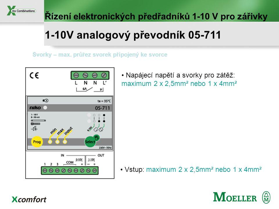 montáž na DIN, šířka 4TE 1-10V analogový výstup, použití pro spínání a řízení elektronických stmívatelných předřadníků zářivek Manuální výběr min a ma