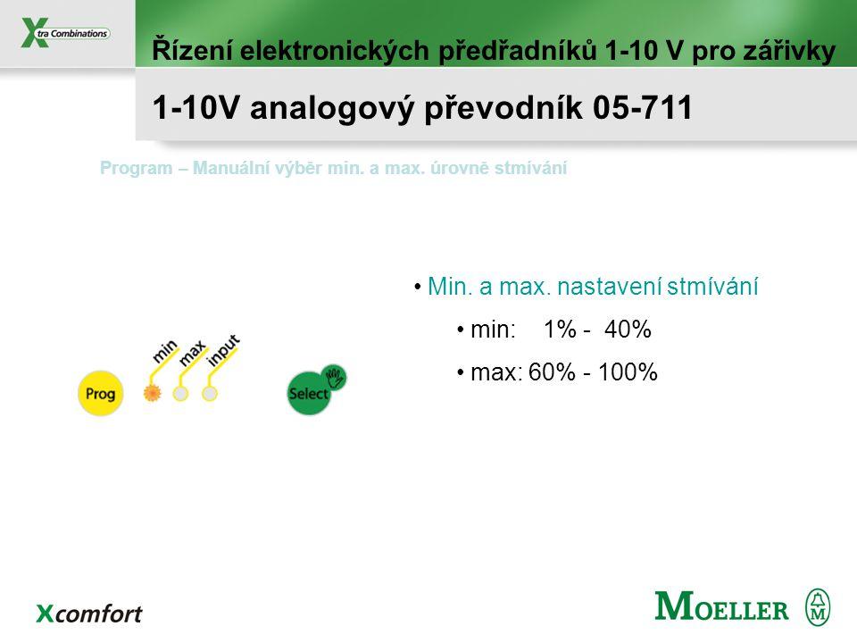 Řízení elektronických předřadníků 1-10 V pro zářivky 1-10V analogový převodník 05-711 Vstup : 0/10V analogové řízení Výstup : 1-10V analogové řízení D