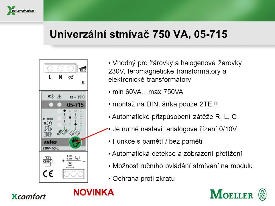 Vhodný pro žárovky a halogenové žárovky 230V, feromagnetické transformátory a elektronické transformátory min 60VA…max 750VA montáž na DIN, šířka pouze 2TE !.