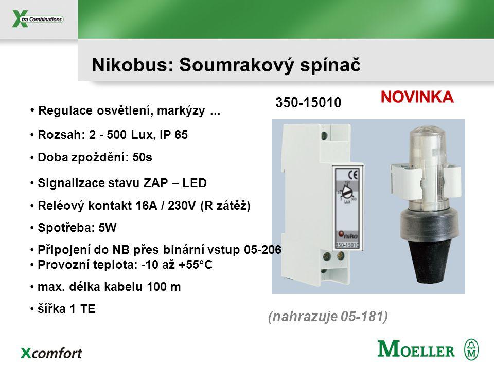 Nikobus: Modulové přístroje PC-LINK PC-LOGIC AUDIO-LINK Modul zpětné vazby Synchroniz. času Binární vstupy RF přijímač Světelný senzor Spínací hodiny