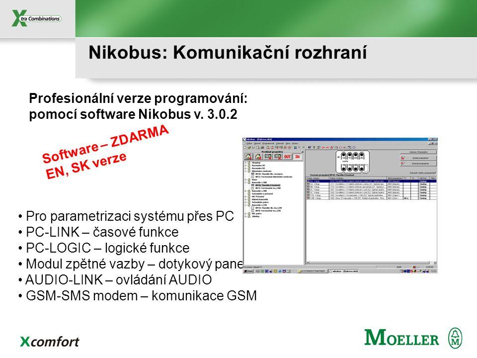 Nikobus: Soumrakový spínač Regulace osvětlení, markýzy... Rozsah: 2 - 500 Lux, IP 65 Doba zpoždění: 50s Signalizace stavu ZAP – LED Reléový kontakt 16