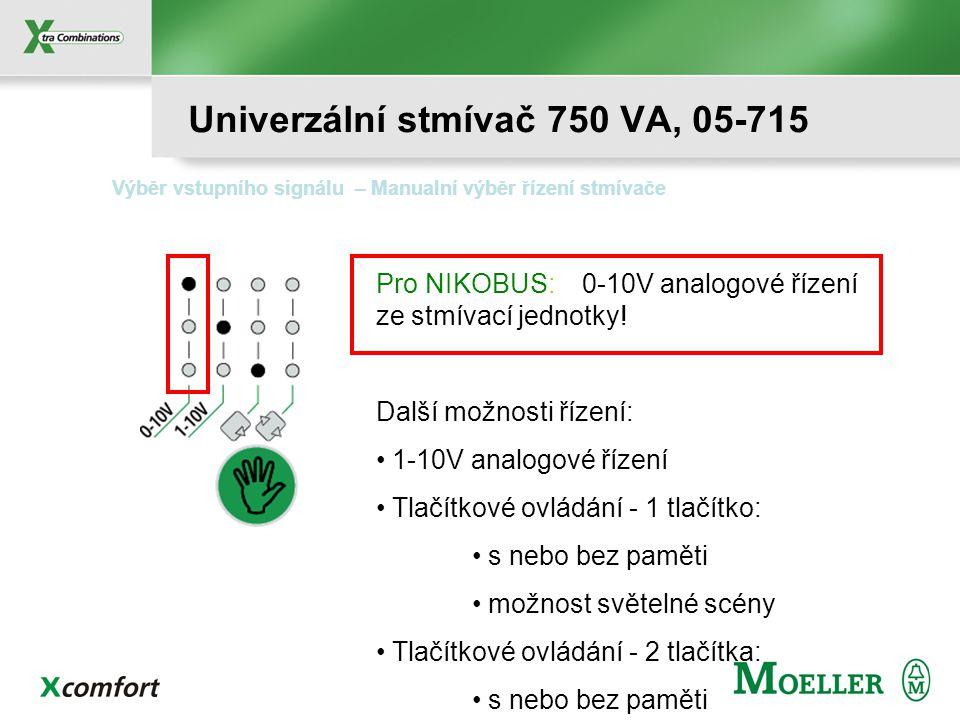Program – Manuální výběr min.a max. úrovně stmívání Min.