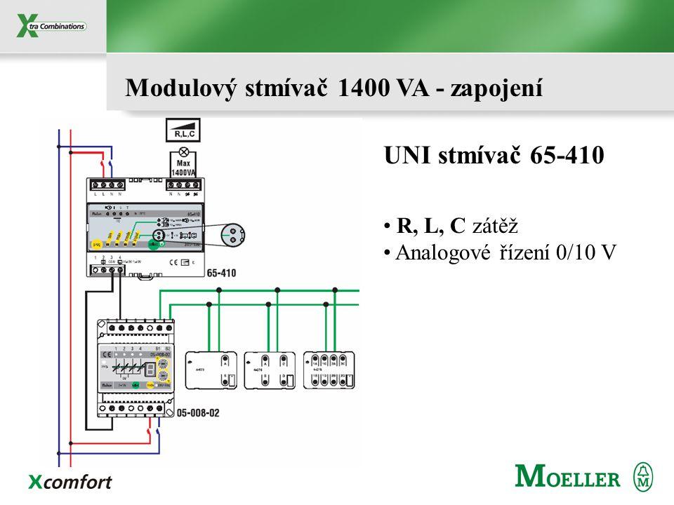 Modulový stmívač 1400 VA - zapojení R, L, C zátěž Analogové řízení 0/10 V UNI stmívač 65-410