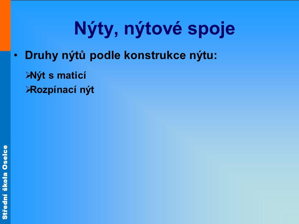 Střední škola Oselce Nýty, nýtové spoje Druhy nýtů podle konstrukce nýtu:  Nýt s maticí  Rozpínací nýt