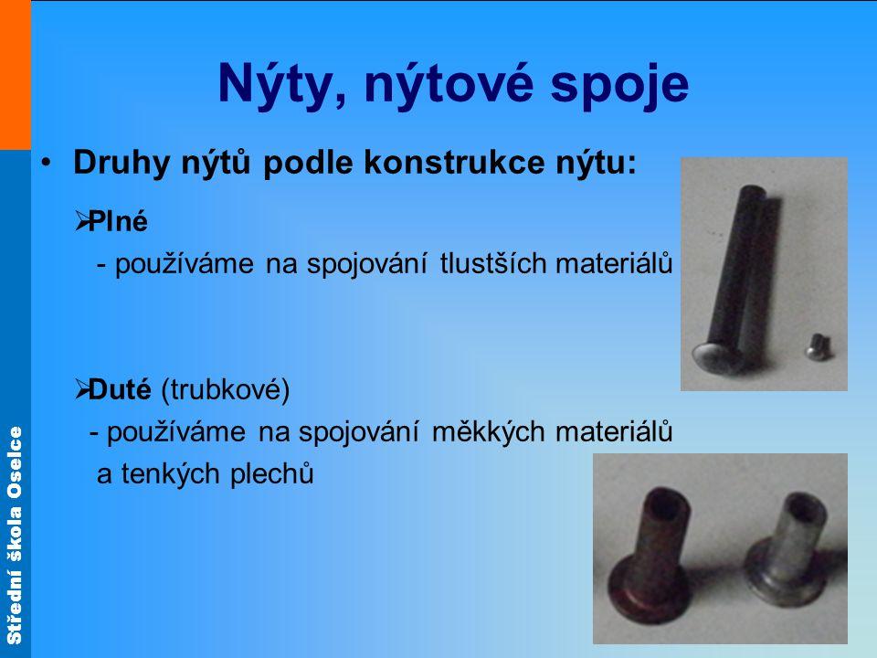 Střední škola Oselce Nýty, nýtové spoje Druhy nýtů podle konstrukce nýtu:  Plné - používáme na spojování tlustších materiálů  Duté (trubkové) - použ