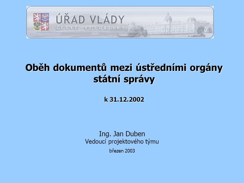 Oběh dokumentů mezi ústředními orgány státní správy k 31.12.2002 Ing.