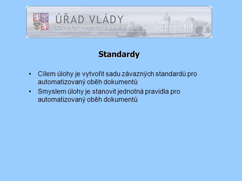 Standardy Cílem úlohy je vytvořit sadu závazných standardů pro automatizovaný oběh dokumentů Smyslem úlohy je stanovit jednotná pravidla pro automatizovaný oběh dokumentů