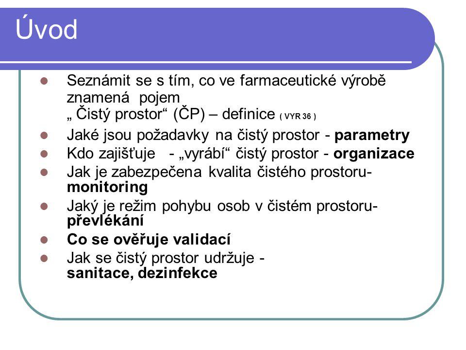"""Úvod Seznámit se s tím, co ve farmaceutické výrobě znamená pojem """" Čistý prostor"""" (ČP) – definice ( VYR 36 ) Jaké jsou požadavky na čistý prostor - pa"""