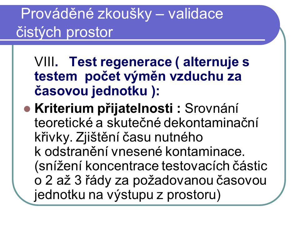 VIII. Test regenerace ( alternuje s testem počet výměn vzduchu za časovou jednotku ): Kriterium přijatelnosti : Srovnání teoretické a skutečné dekonta