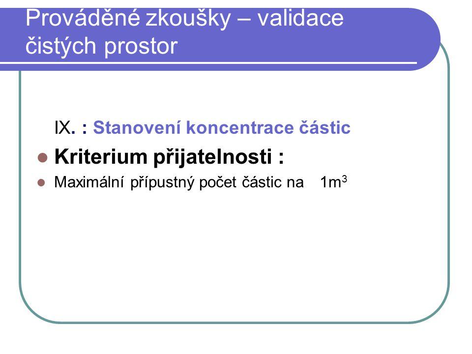IX. : Stanovení koncentrace částic Kriterium přijatelnosti : Maximální přípustný počet částic na 1m 3 Prováděné zkoušky – validace čistých prostor