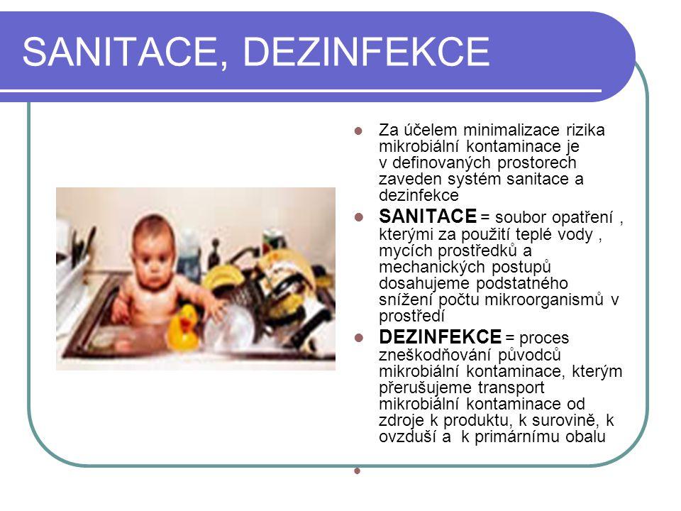 SANITACE, DEZINFEKCE Za účelem minimalizace rizika mikrobiální kontaminace je v definovaných prostorech zaveden systém sanitace a dezinfekce SANITACE