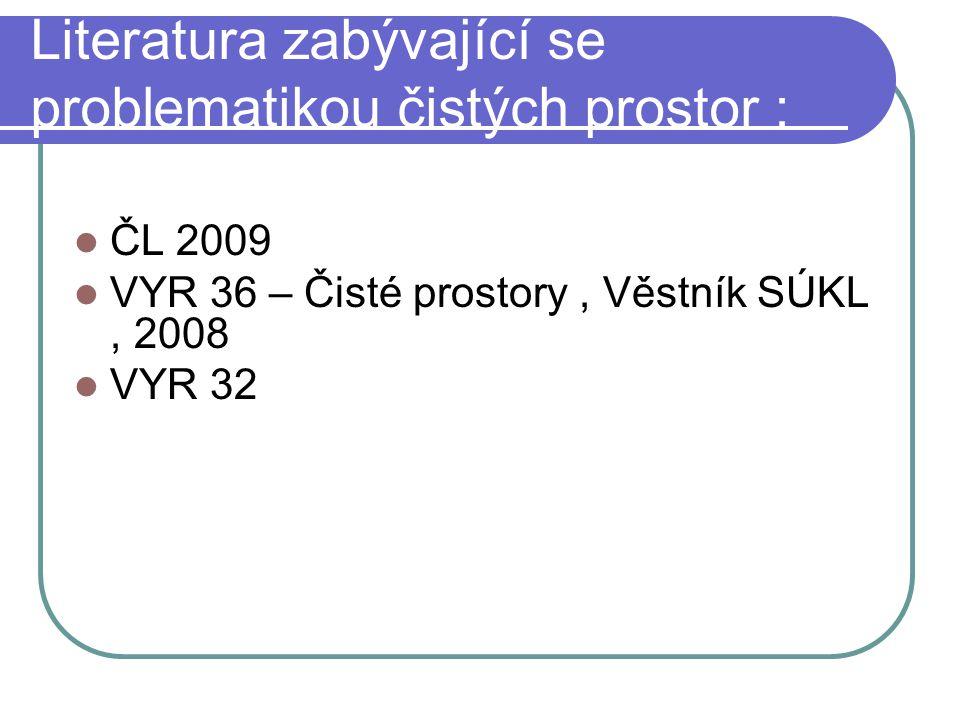 Literatura zabývající se problematikou čistých prostor : ČL 2009 VYR 36 – Čisté prostory, Věstník SÚKL, 2008 VYR 32