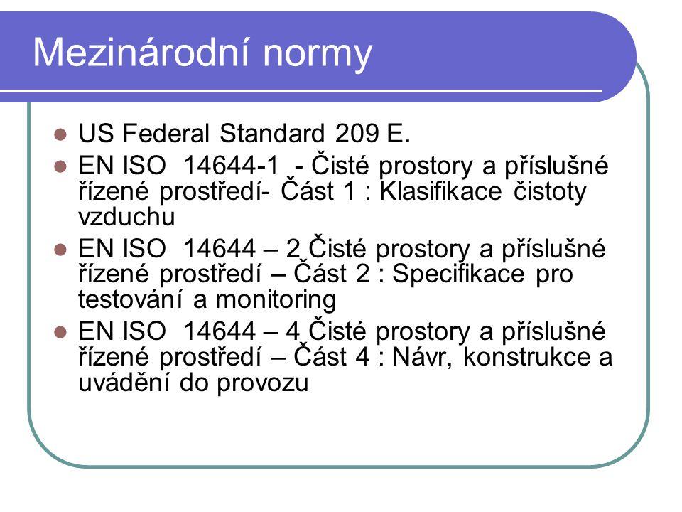 Mezinárodní normy US Federal Standard 209 E. EN ISO 14644-1 - Čisté prostory a příslušné řízené prostředí- Část 1 : Klasifikace čistoty vzduchu EN ISO