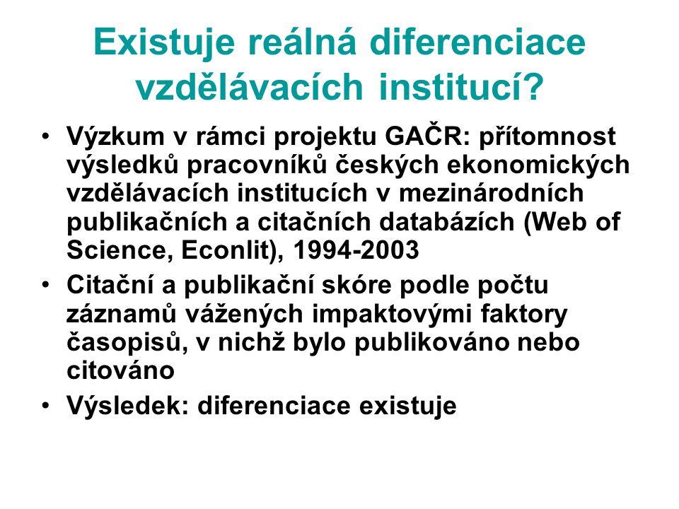Existuje reálná diferenciace vzdělávacích institucí.