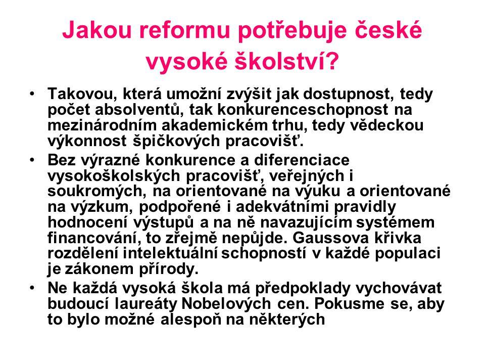 Jakou reformu potřebuje české vysoké školství.