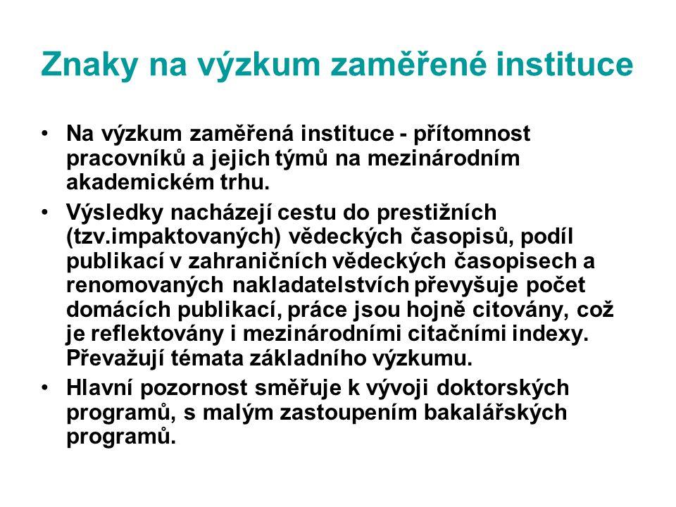Znaky na výzkum zaměřené instituce Na výzkum zaměřená instituce - přítomnost pracovníků a jejich týmů na mezinárodním akademickém trhu.