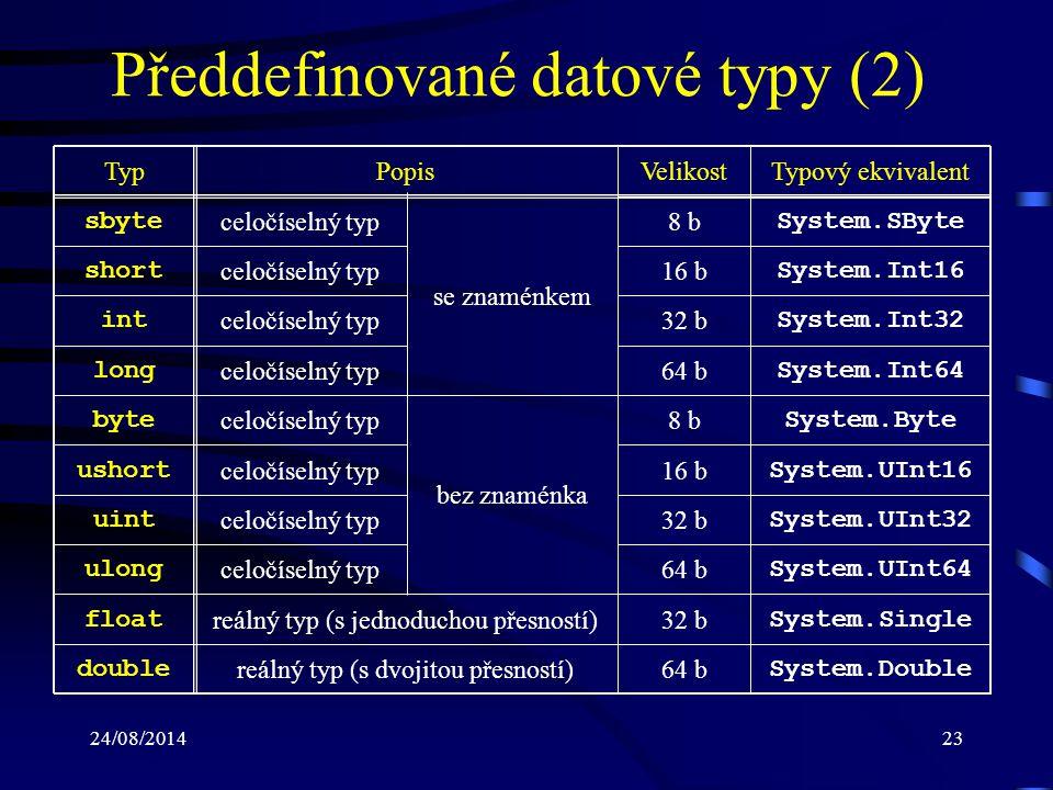 24/08/201424 Předdefinované datové typy (3) TypPopisVelikostTypový ekvivalent string posloupnost znaků (řetězec) 16 b / znak System.String Poznámka: –datové typy string a object jsou popsány jako třídy (nikoliv jako struktury) decimal peněžní hodnoty (28 platných číslic) 128 b System.Decimal char znakový typ (Unicode) 16 b System.Char bool logický (booleovský) typ8 b System.Boolean object kořen objektové hierarchie System.Object
