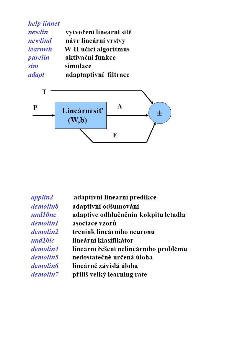 ± help linnet newlin vytvoření lineární sítě newlind návr lineární vrstvy learnwh W-H učící algoritmus purelin aktivační funkce sim simulace adapt ada