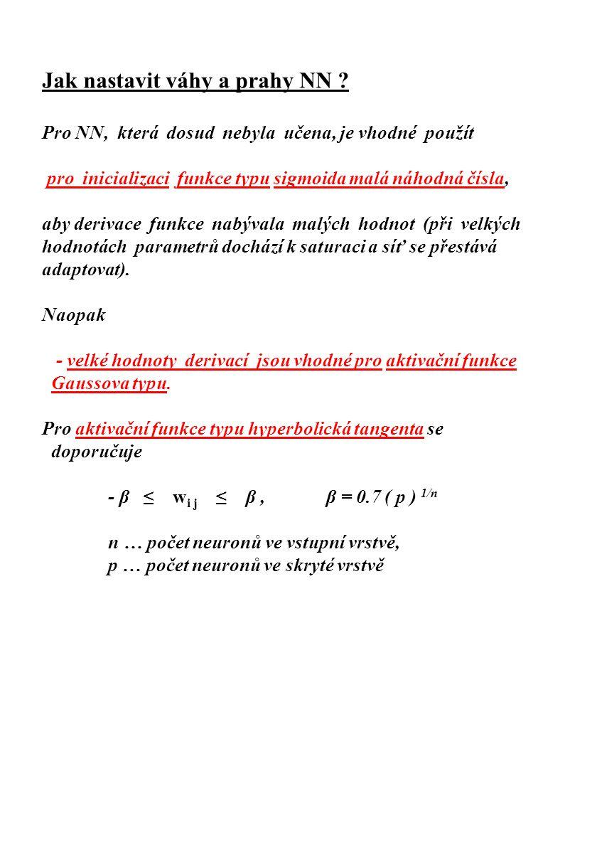 Jak nastavit váhy a prahy NN ? Pro NN, která dosud nebyla učena, je vhodné použít pro inicializaci funkce typu sigmoida malá náhodná čísla, aby deriva