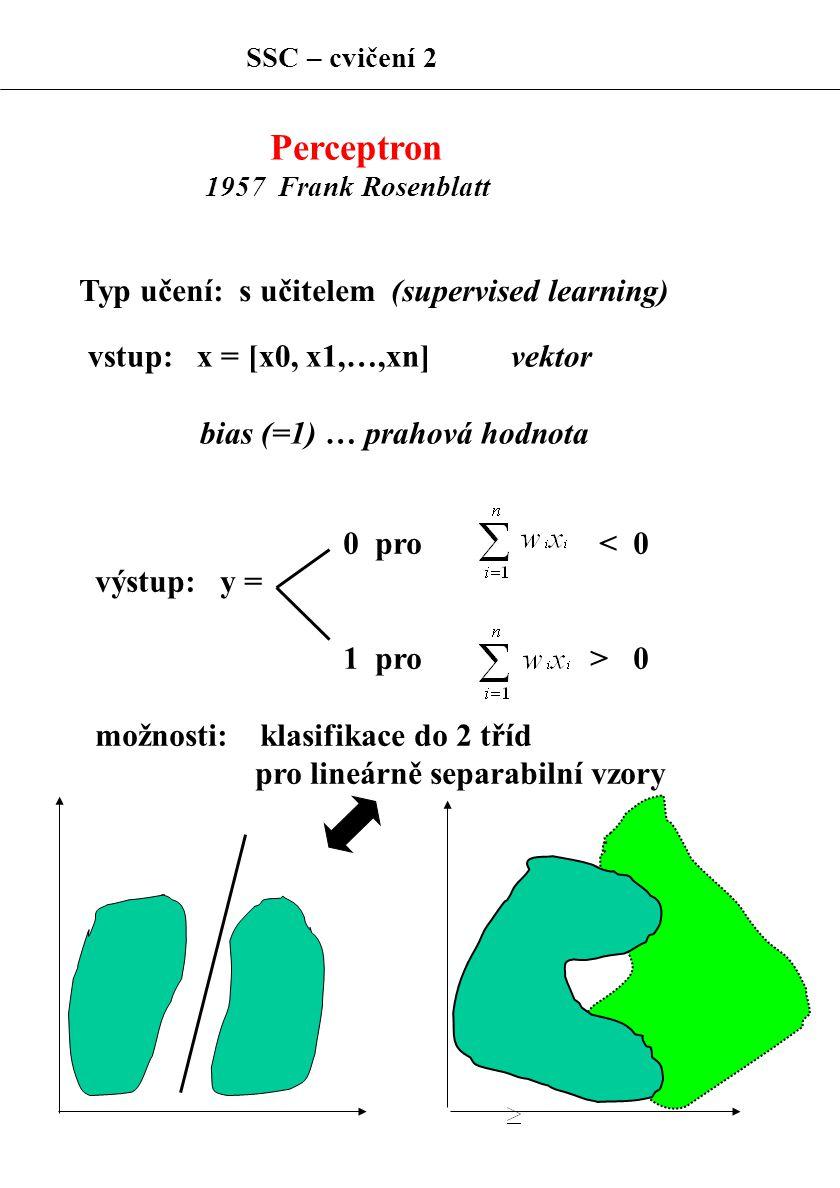 Perceptron 1957 Frank Rosenblatt Typ učení: s učitelem (supervised learning) vstup: x = [x0, x1,…,xn] vektor bias (=1) … prahová hodnota 0 pro < 0 výs
