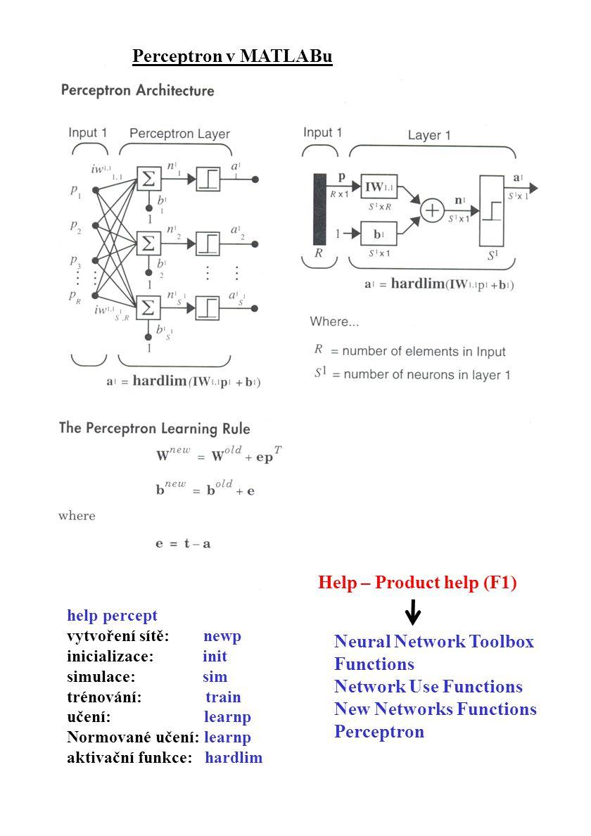 Perceptron v MATLABu help percept vytvoření sítě: newp inicializace: init simulace: sim trénování: train učení: learnp Normované učení: learnp aktivač