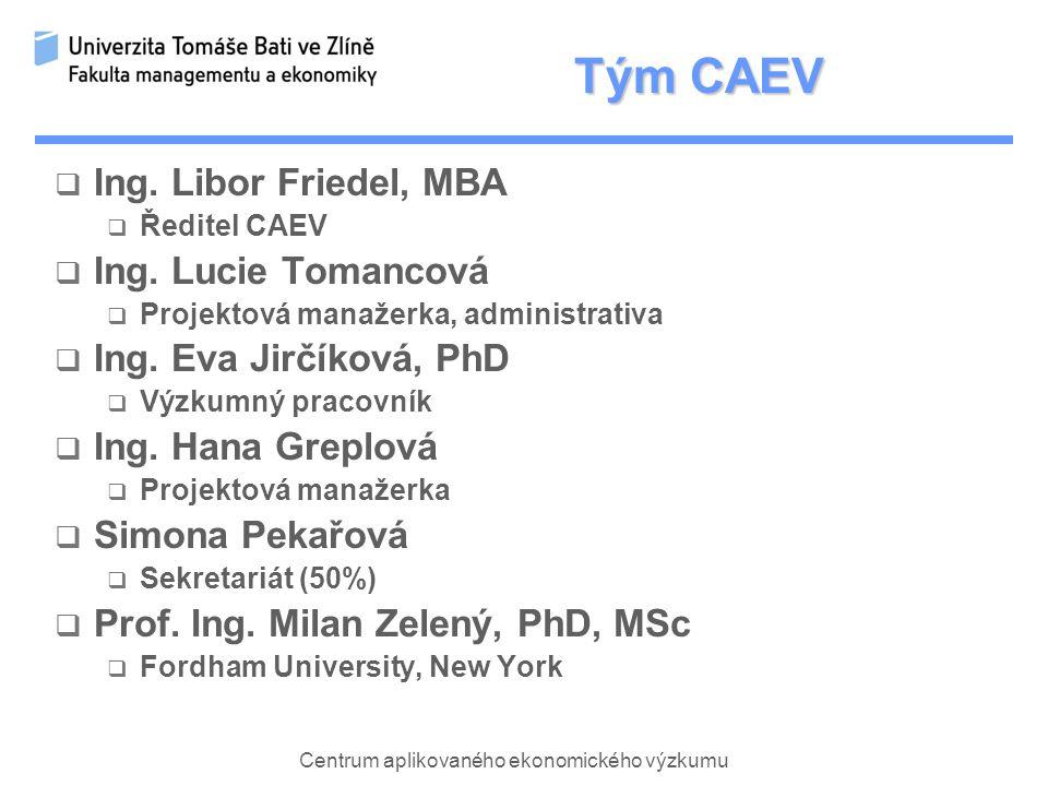 Centrum aplikovaného ekonomického výzkumu Tým CAEV  Ing.