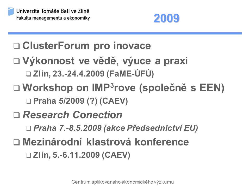 Centrum aplikovaného ekonomického výzkumu 2009  ClusterForum pro inovace  Výkonnost ve vědě, výuce a praxi  Zlín, 23.-24.4.2009 (FaME-ÚFÚ)  Workshop on IMP 3 rove (společně s EEN)  Praha 5/2009 ( ) (CAEV)  Research Conection  Praha 7.-8.5.2009 (akce Předsednictví EU)  Mezinárodní klastrová konference  Zlín, 5.-6.11.2009 (CAEV)
