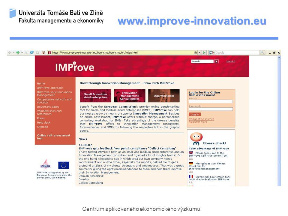 Centrum aplikovaného ekonomického výzkumu www.improve-innovation.eu