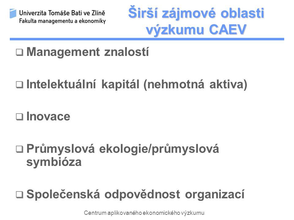 Centrum aplikovaného ekonomického výzkumu Širší zájmové oblasti výzkumu CAEV  Management znalostí  Intelektuální kapitál (nehmotná aktiva)  Inovace  Průmyslová ekologie/průmyslová symbióza  Společenská odpovědnost organizací