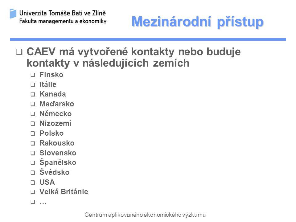 Centrum aplikovaného ekonomického výzkumu Mezinárodní přístup  CAEV má vytvořené kontakty nebo buduje kontakty v následujících zemích  Finsko  Itálie  Kanada  Maďarsko  Německo  Nizozemí  Polsko  Rakousko  Slovensko  Španělsko  Švédsko  USA  Velká Británie  …