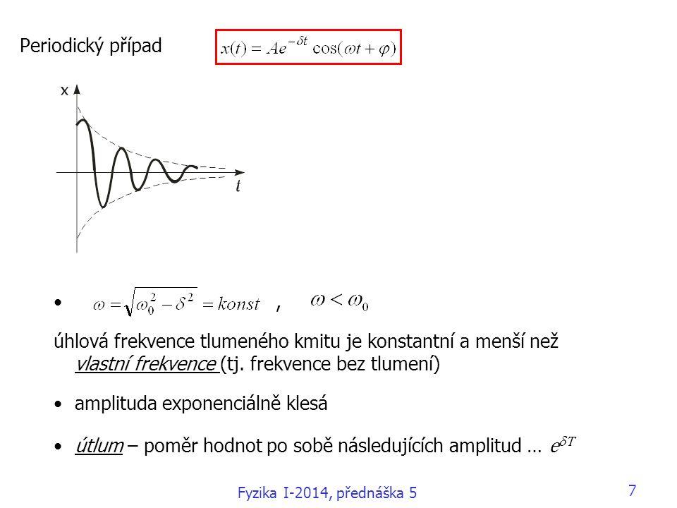 Fyzika I-2014, přednáška 5 7 Periodický případ, úhlová frekvence tlumeného kmitu je konstantní a menší než vlastní frekvence (tj.