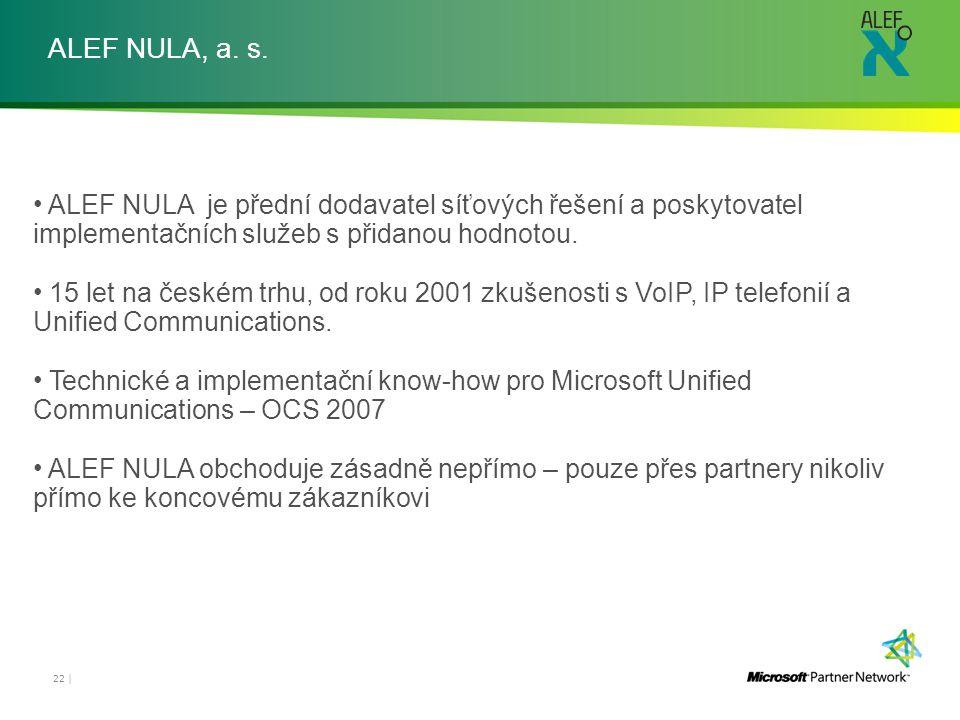 ALEF NULA, a. s. ALEF NULA je přední dodavatel síťových řešení a poskytovatel implementačních služeb s přidanou hodnotou. 15 let na českém trhu, od ro