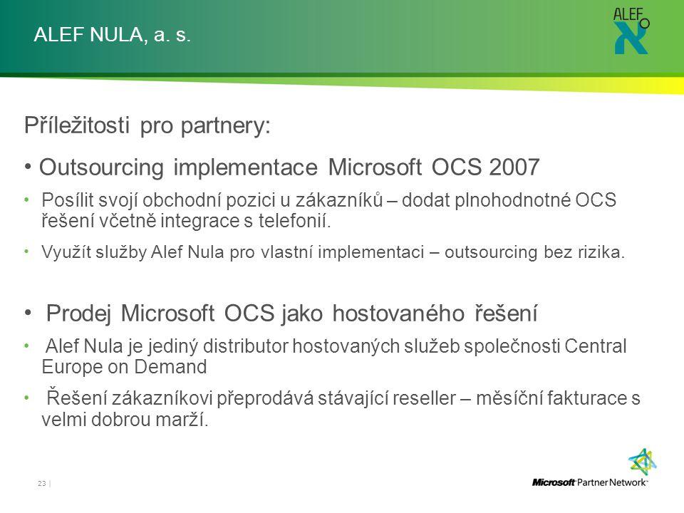 ALEF NULA, a. s. Příležitosti pro partnery: Outsourcing implementace Microsoft OCS 2007 Posílit svojí obchodní pozici u zákazníků – dodat plnohodnotné