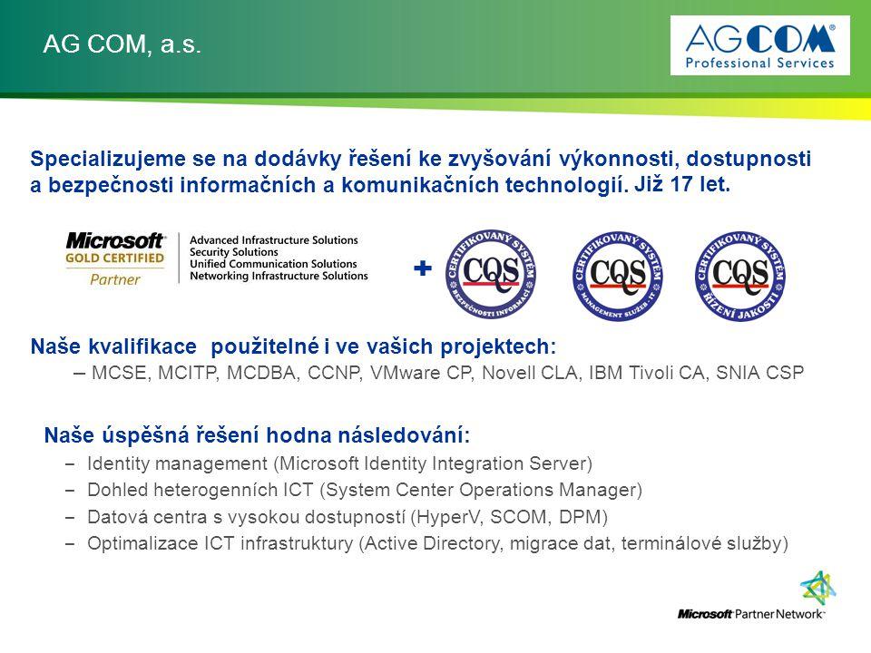 AG COM, a.s. Specializujeme se na dodávky řešení ke zvyšování výkonnosti, dostupnosti a bezpečnosti informačních a komunikačních technologií. Naše kva