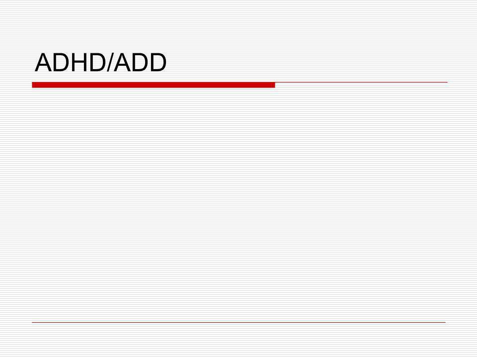 Terminologie ADHD/ADD  ADHD - Attention Deficit Hyperactivity Disorders - Porucha pozornosti spojená s hyperaktivitou  ADD – poruchy pozornosti bez hyperaktivity  ODD - Oppositional Defiant Disorders (Oposiční chování)  ADHD bez agresivity nebo s agresivitou  Projevy ADHD : porucha pozornosti, impulzivita, hyperaktivita  Projevy ADD : převažující porucha pozornosti
