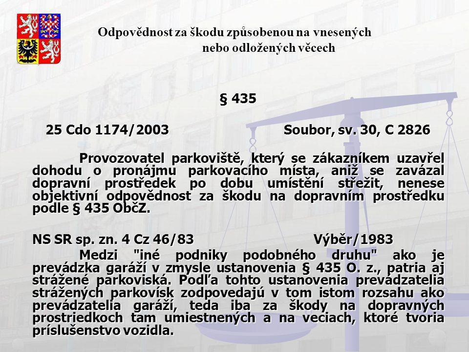 Odpovědnost za škodu způsobenou na vnesených nebo odložených věcech § 435 25 Cdo 1174/2003 Soubor, sv. 30, C 2826 Provozovatel parkoviště, který se zá