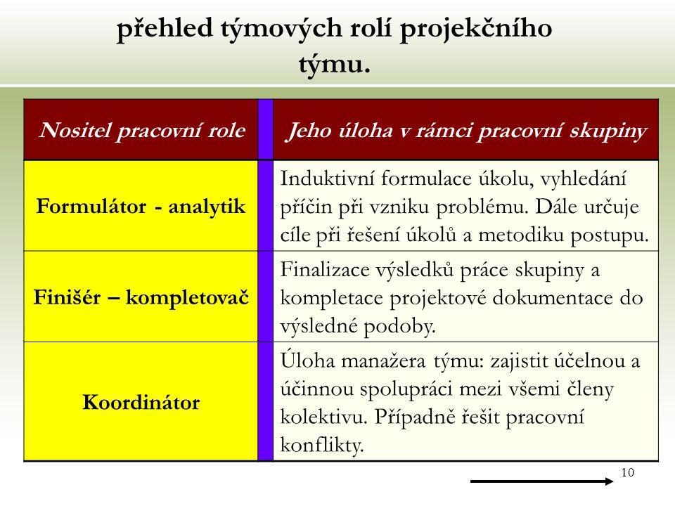 10 přehled týmových rolí projekčního týmu.