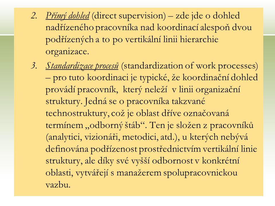 21 2.Přímý dohled (direct supervision) – zde jde o dohled nadřízeného pracovníka nad koordinací alespoň dvou podřízených a to po vertikální linii hierarchie organizace.