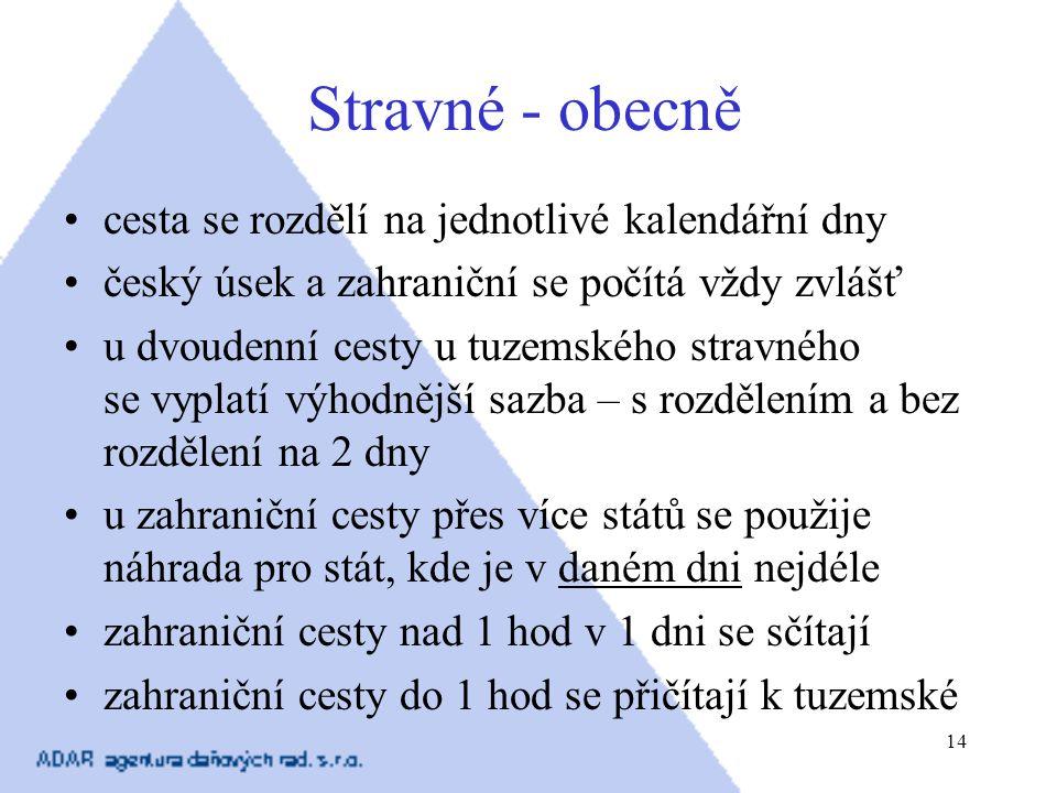14 Stravné - obecně cesta se rozdělí na jednotlivé kalendářní dny český úsek a zahraniční se počítá vždy zvlášť u dvoudenní cesty u tuzemského stravné