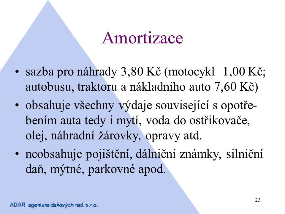 23 Amortizace sazba pro náhrady 3,80 Kč (motocykl 1,00 Kč; autobusu, traktoru a nákladního auto 7,60 Kč) obsahuje všechny výdaje související s opotře-