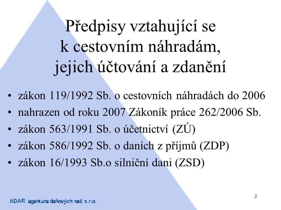 3 Předpisy vztahující se k cestovním náhradám, jejich účtování a zdanění zákon 119/1992 Sb. o cestovních náhradách do 2006 nahrazen od roku 2007 Zákon