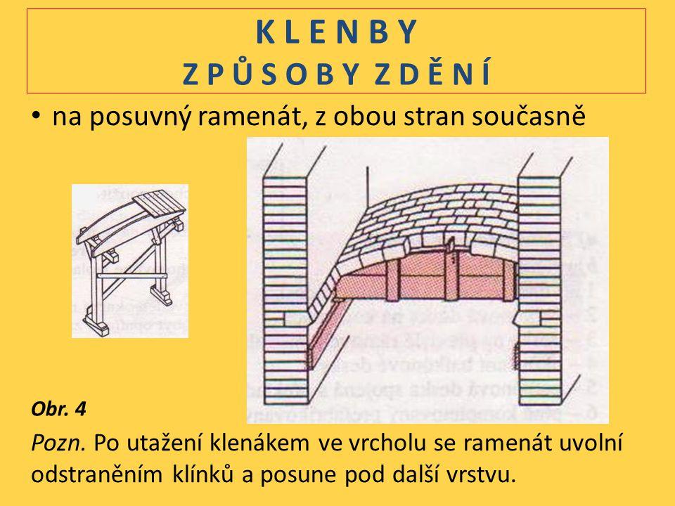 K L E N B Y Z P Ů S O B Y Z D Ě N Í na posuvný ramenát, z obou stran současně Pozn.